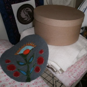 Lani Longshore hat box wool applique