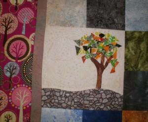 Lani Longshore tree quilt detail