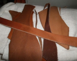 Lani Longshore leather scraps