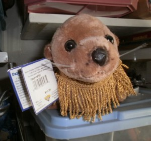 Stuffed sea lion with collar