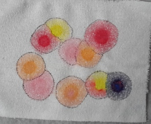 Raw silk and spreading paint circles