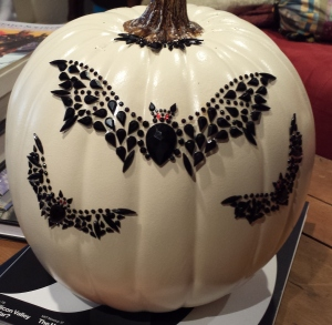 Lani Longshore pumpkin with bats