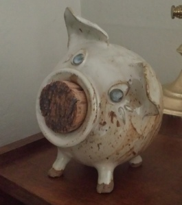 Ceramic penny pig with cork nose